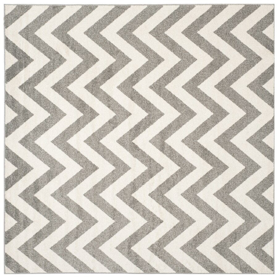 Safavieh Amherst Bellport Dark Gray/Beige Square Indoor/Outdoor Moroccan Area Rug (Common: 5 x 5; Actual: 5-ft W x 5-ft L)