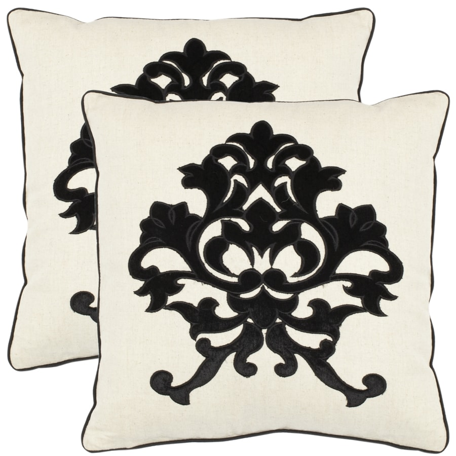 Safavieh Mason 2-Piece 18-in W x 18-in L Onyx Indoor Decorative Pillow