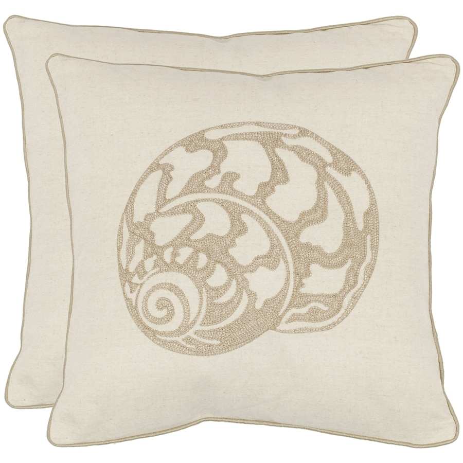 Safavieh Palmer 2-Piece 18-in W x 18-in L Creme Square Indoor Decorative Pillow
