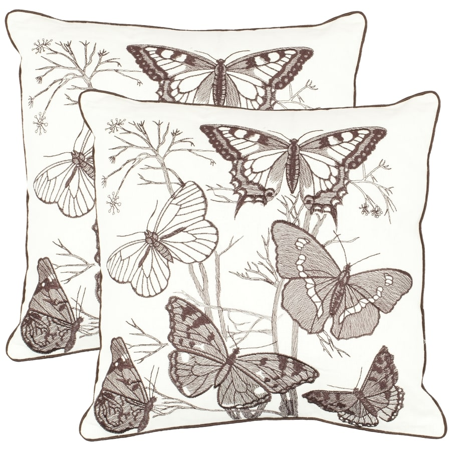 Safavieh Flutter 2-Piece 18-in W x 18-in L Charcoal Square Indoor Decorative Pillow