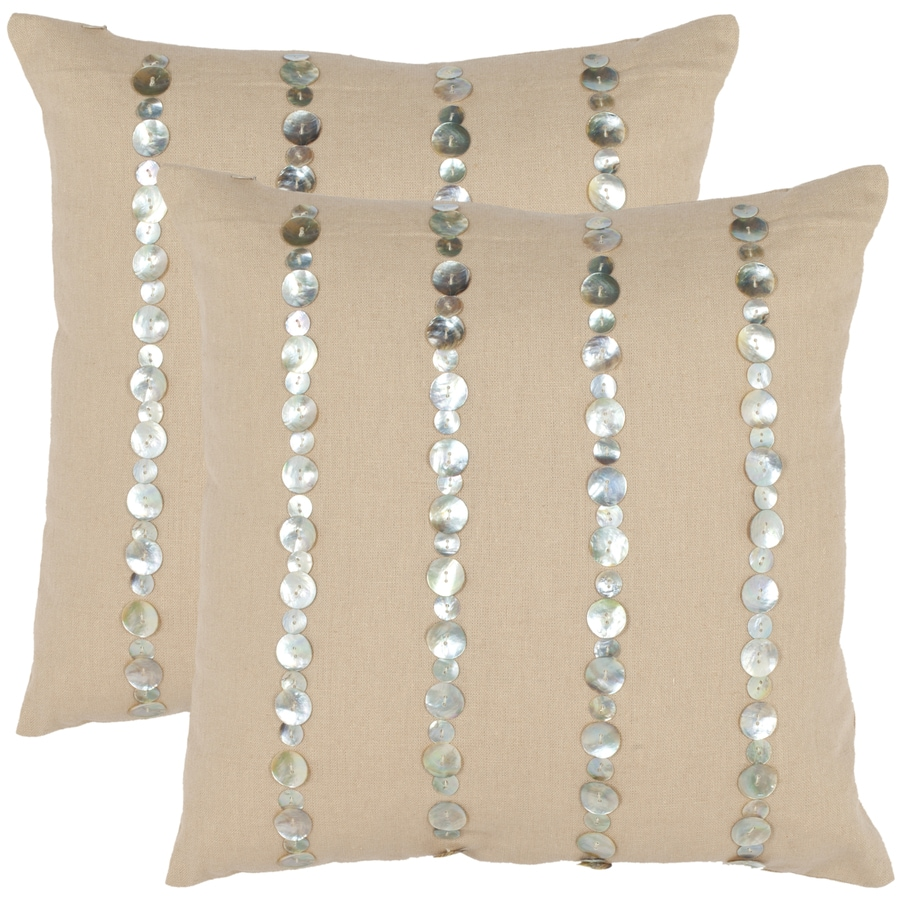 Safavieh 2-Piece 18-in W x 18-in L Almond Square Indoor Decorative Complete Pillows