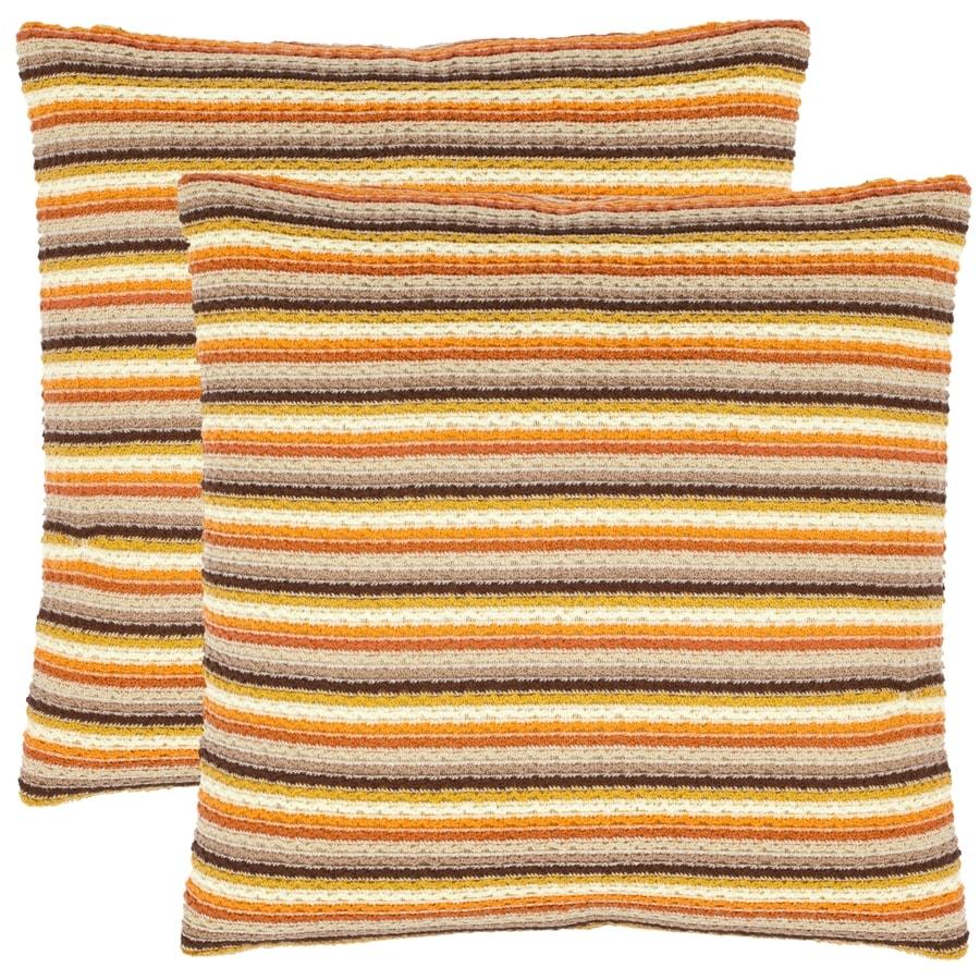 Safavieh Goya 2-Piece 18-in W x 18-in L Orange Square Indoor Decorative Pillow