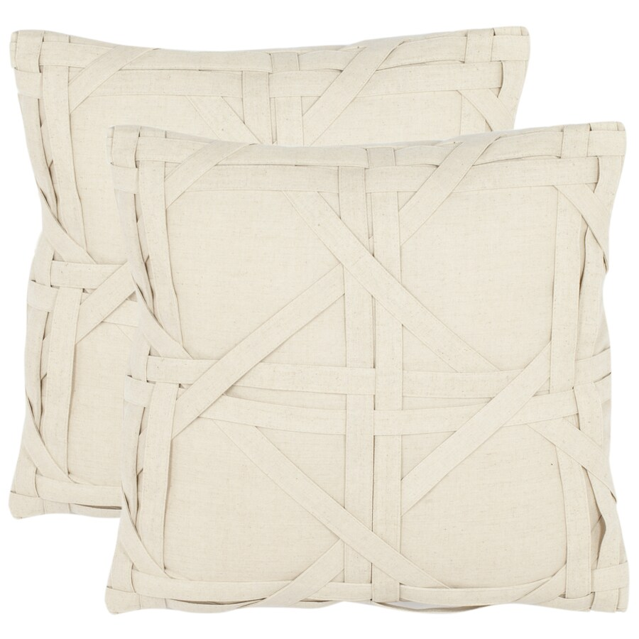 Safavieh 2-Piece 18-in W x 18-in L Beige Square Indoor Decorative Complete Pillows