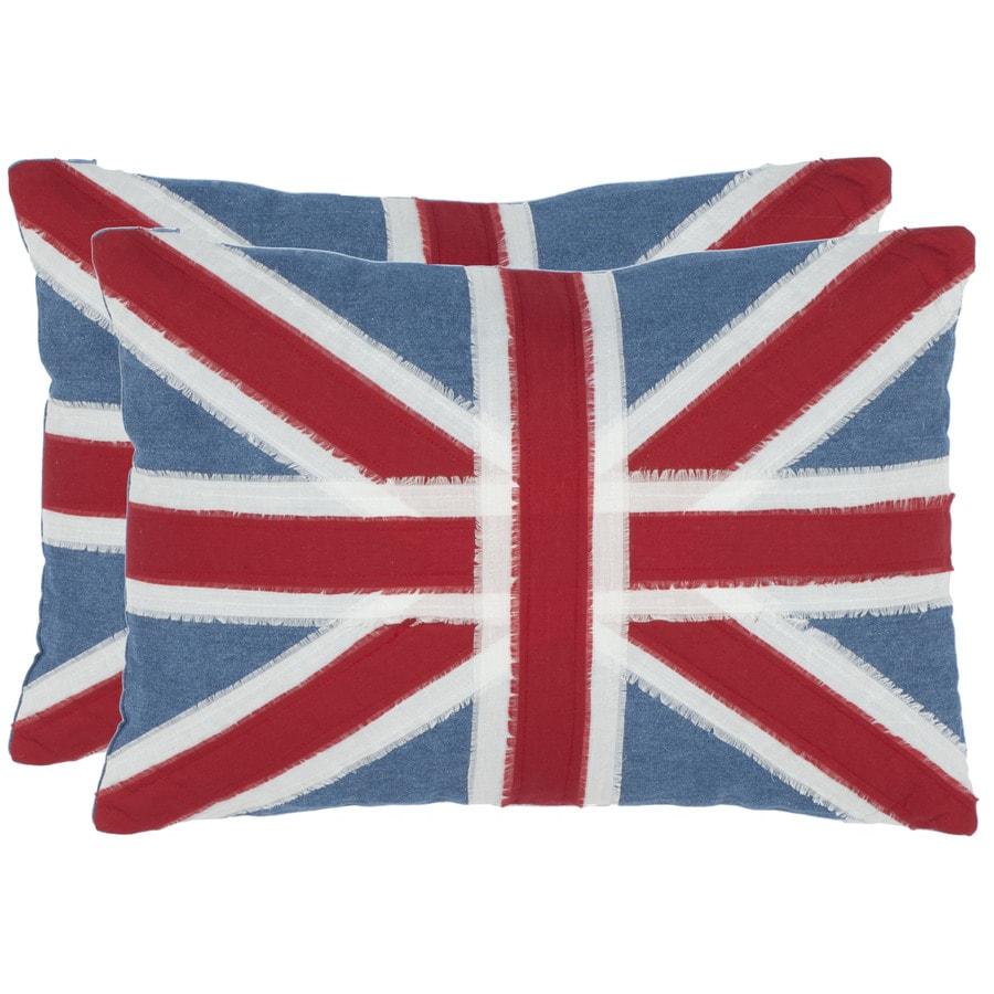 Safavieh 2-Piece 13-in W x 19-in L Red/Blue/White Rectangular Indoor Decorative Complete Pillows