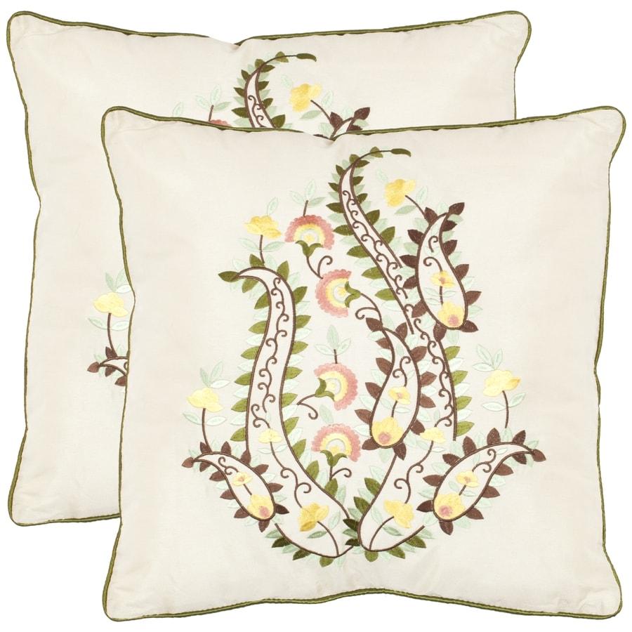 Safavieh Parides 2-Piece 18-in W x 18-in L Multi/Creme Square Indoor Decorative Pillow