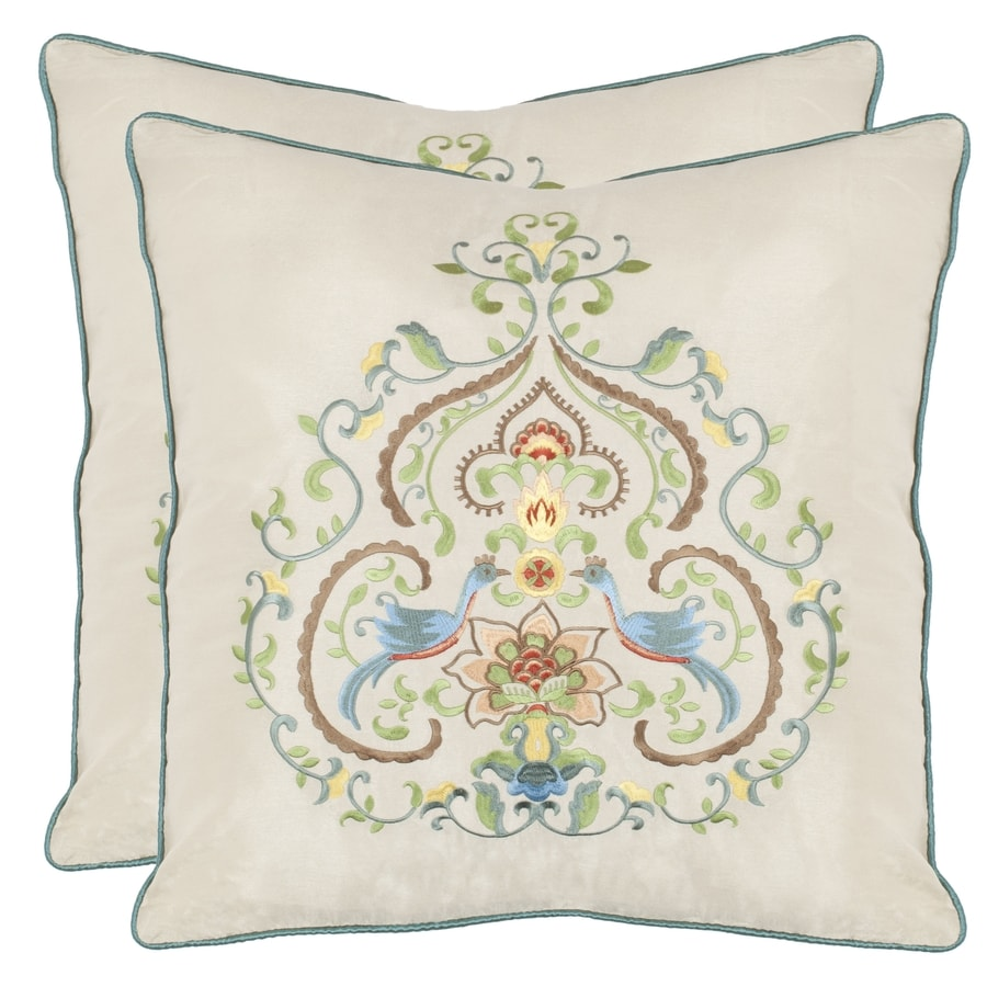 Safavieh Papollio 2-Piece 18-in W x 18-in L Multi/Creme Square Indoor Decorative Pillow