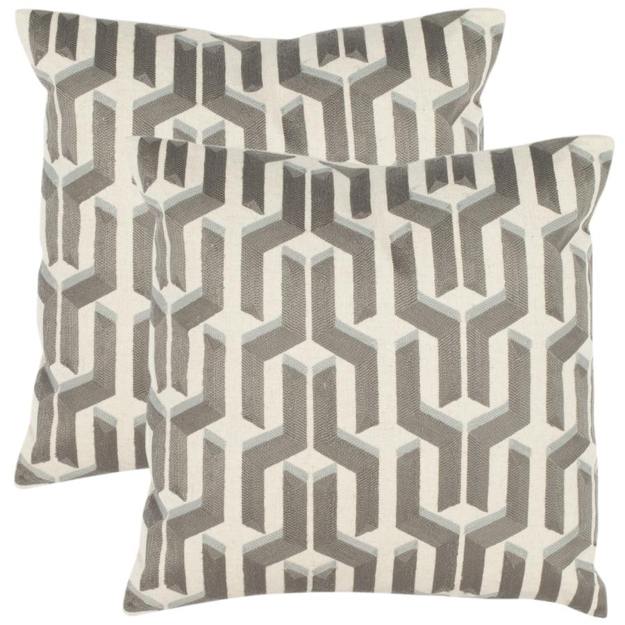 Safavieh Texola 2-Piece 18-in W x 18-in L Silver/Blue Square Indoor Decorative Pillow