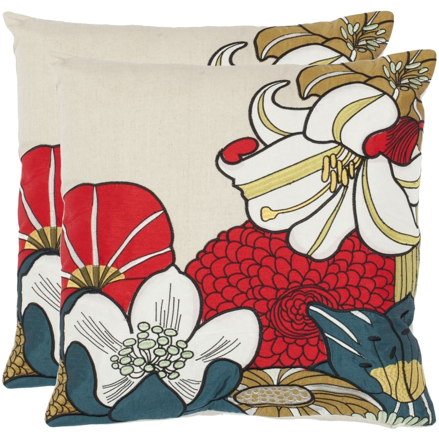 Safavieh Shelley 2-Piece 18-in W x 18-in L Red/Beige Square Indoor Decorative Pillow