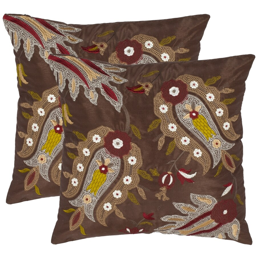 Safavieh Skipper 2-Piece 18-in W x 18-in L Chestnut Square Indoor Decorative Pillow