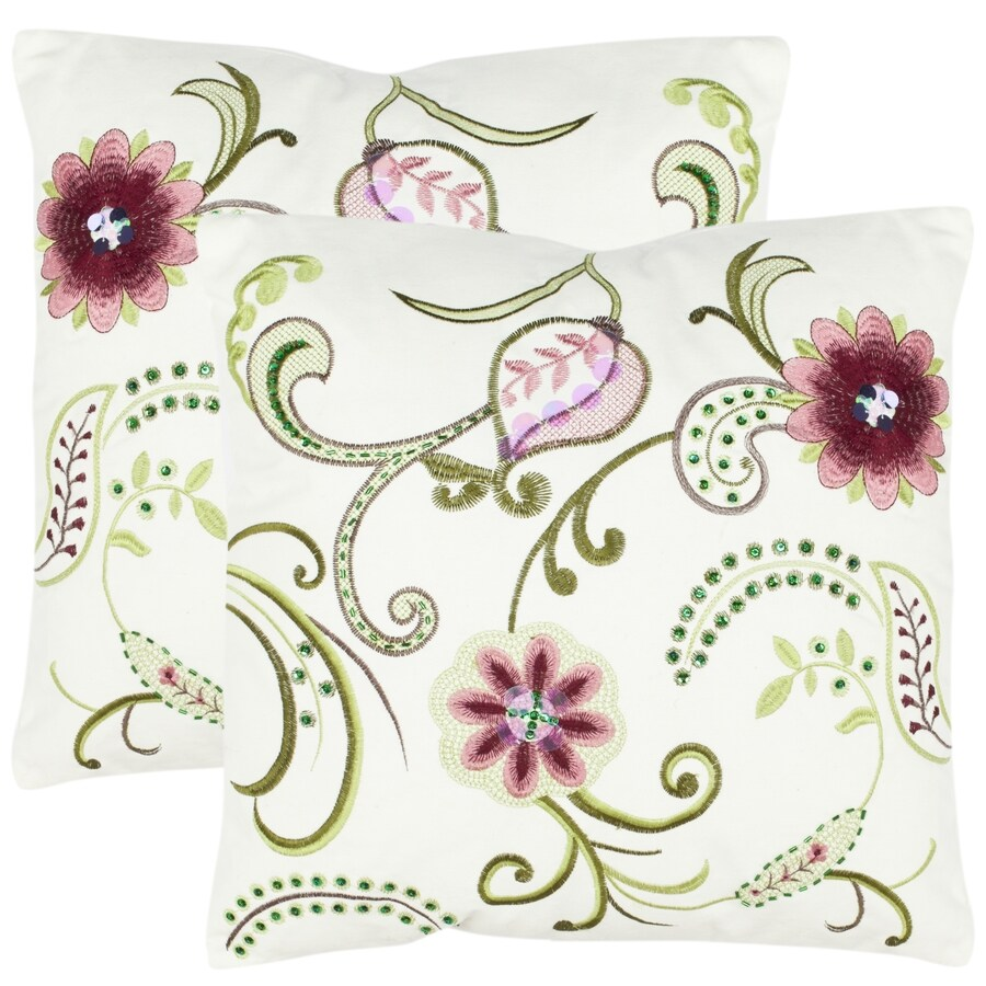 Safavieh Bella 2-Piece 18-in W x 18-in L Rose/Cream Square Indoor Decorative Pillow