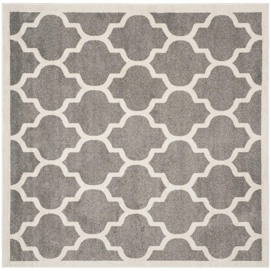 Safavieh Amherst Barret Dark Gray/Beige Square Indoor/Outdoor Machine-Made Moroccan Area Rug (Common: 5 x 5; Actual: 5-ft W x 5-ft L)