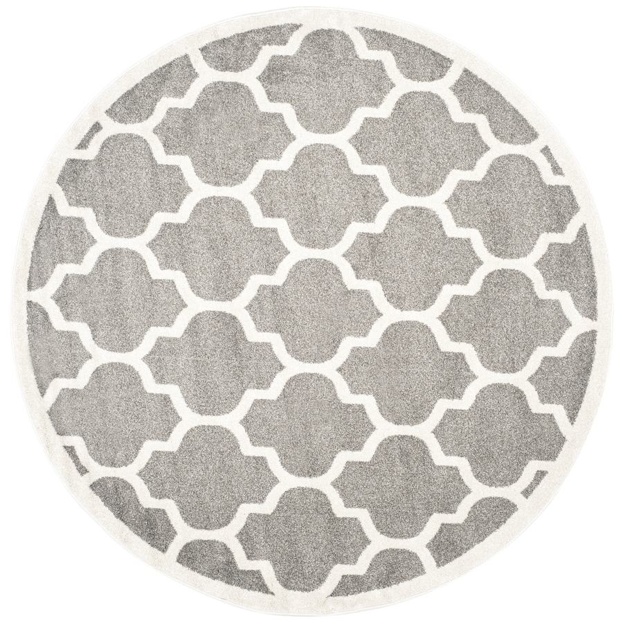 Safavieh Amherst Barret Dark Gray/Beige Round Indoor/Outdoor Moroccan Area Rug (Common: 5 x 5; Actual: 5-ft W x 5-ft L x 5-ft dia)