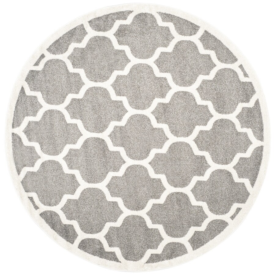Safavieh Amherst Barret Dark Gray/Beige Round Indoor/Outdoor Machine-Made Moroccan Area Rug (Common: 9 x 9; Actual: 9-ft W x 9-ft L x 9-ft Dia)