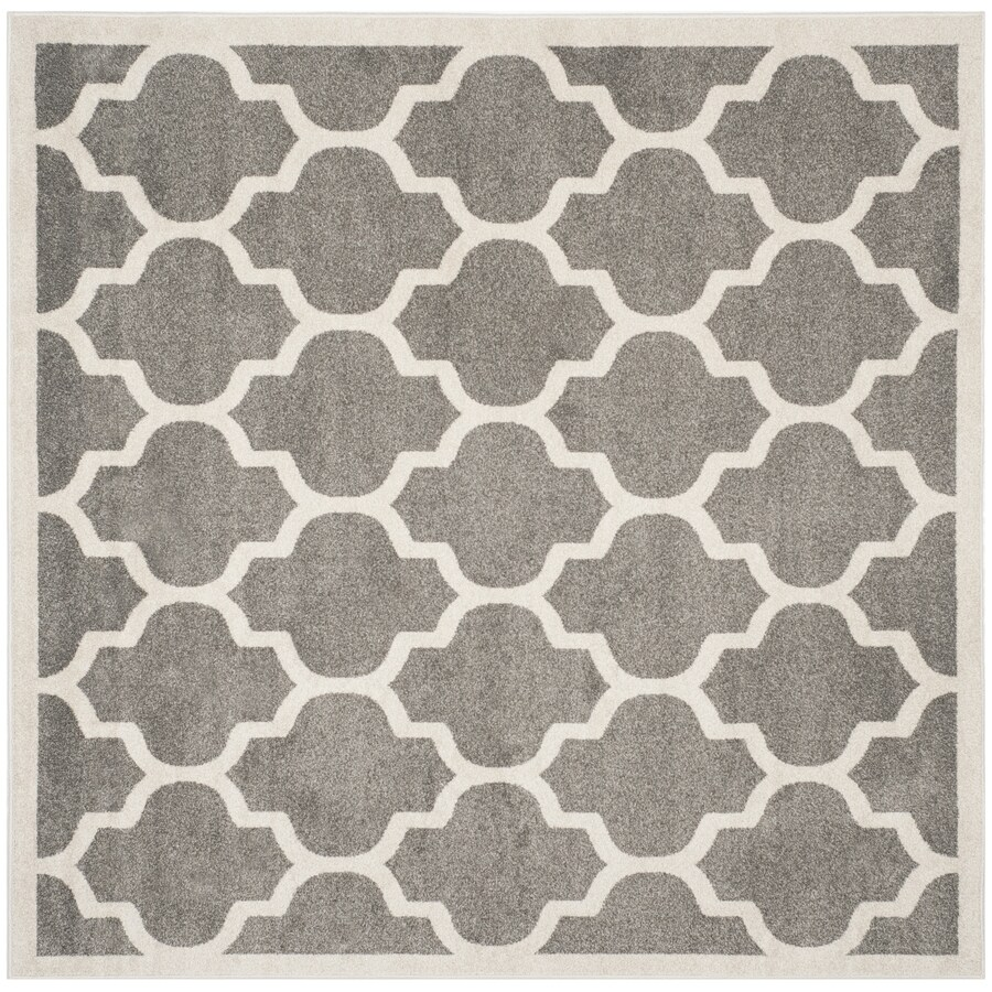 Safavieh Amherst Dark Gray/Beige Square Indoor/Outdoor Machine-Made Moroccan Area Rug (Common: 9 x 9; Actual: 9-ft W x 9-ft L x 0-ft Dia)