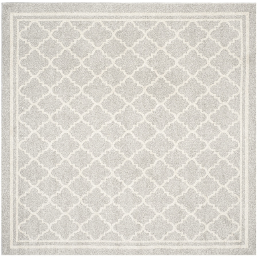Safavieh Amherst Kelly Gray/Beige Square Indoor/Outdoor Machine-Made Moroccan Area Rug (Common: 5 x 5; Actual: 5-ft W x 5-ft L)