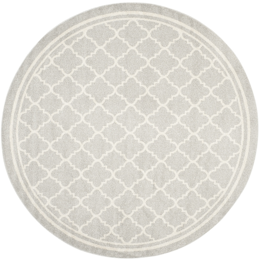 Safavieh Amherst Kelly Gray/Beige Round Indoor/Outdoor Machine-Made Moroccan Area Rug (Common: 5 x 5; Actual: 5-ft W x 5-ft L x 5-ft Dia)