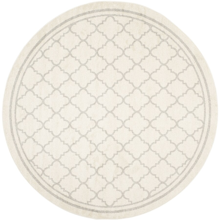 Safavieh Amherst Kelly Beige/Light Gray Round Indoor/Outdoor Machine-Made Moroccan Area Rug (Common: 5 x 5; Actual: 5-ft W x 5-ft L x 5-ft Dia)