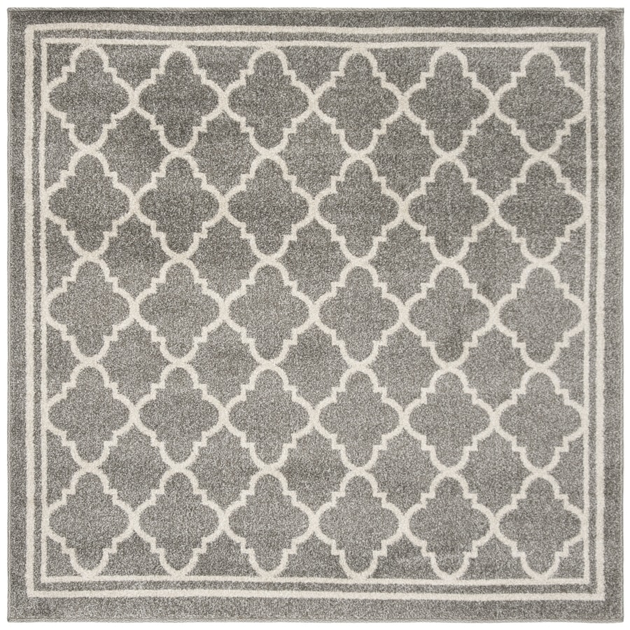 Safavieh Amherst Kelly Dark Gray/Beige Square Indoor/Outdoor Machine-made Moroccan Area Rug (Common: 5 x 5; Actual: 5-ft W x 5-ft L)