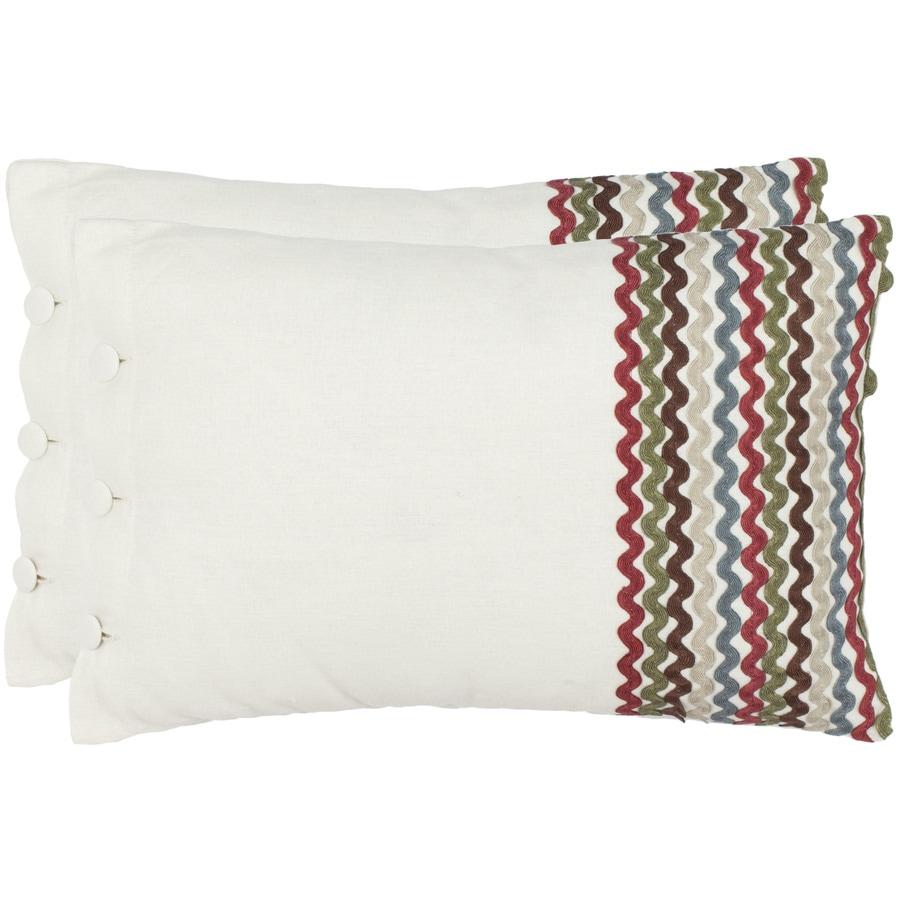 Safavieh 2-Piece 13-in W x 19-in L White/Multi Rectangular Indoor Decorative Complete Pillows