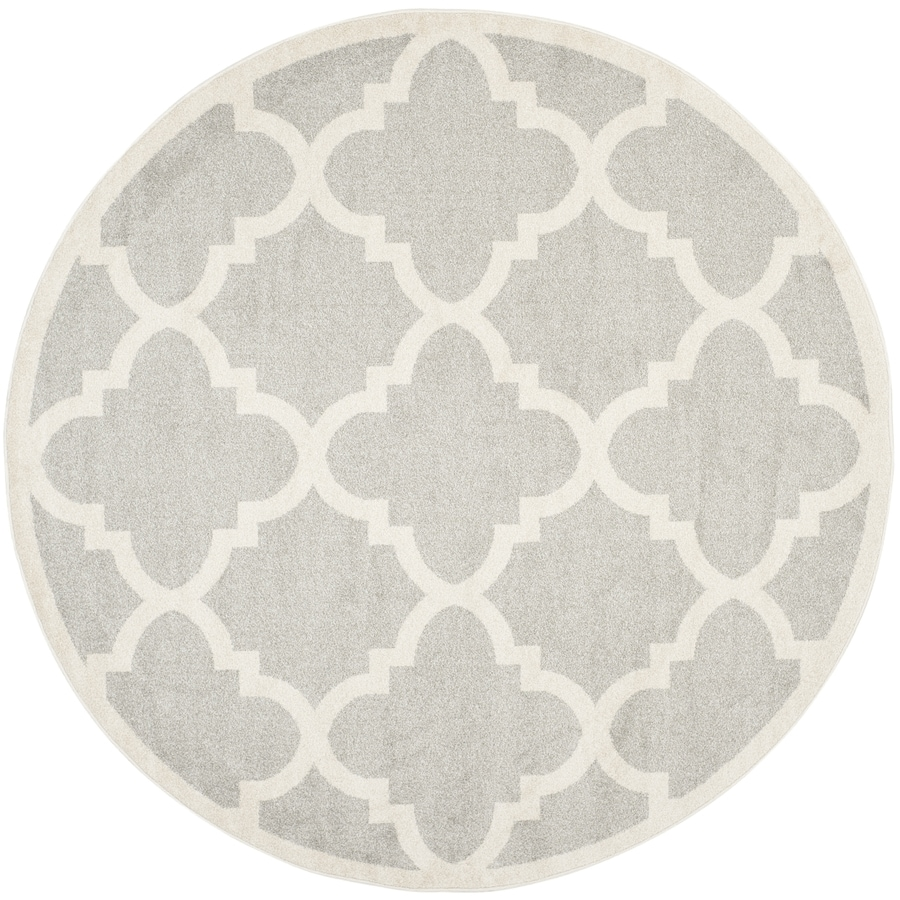 Safavieh Amherst Grey/Beige Round Indoor/Outdoor Machine-Made Area Rug (Common: 5 x 5; Actual: 5-ft dia)