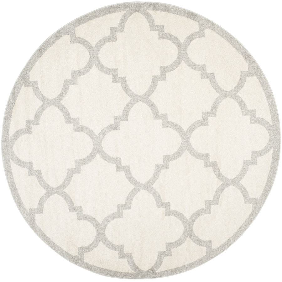 Safavieh Amherst Beige/Light Gray Round Indoor/Outdoor Machine-Made Moroccan Area Rug (Common: 5 x 5; Actual: 5-ft W x 5-ft L x 5-ft Dia)