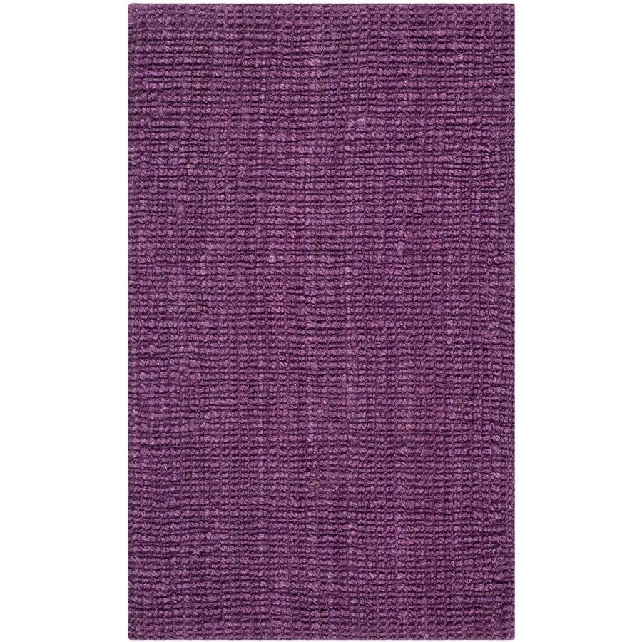 Safavieh Natural Fiber Bellport Purple Indoor Handcrafted Coastal Throw Rug (Common: 2 x 4; Actual: 2.5-ft W x 4-ft L)