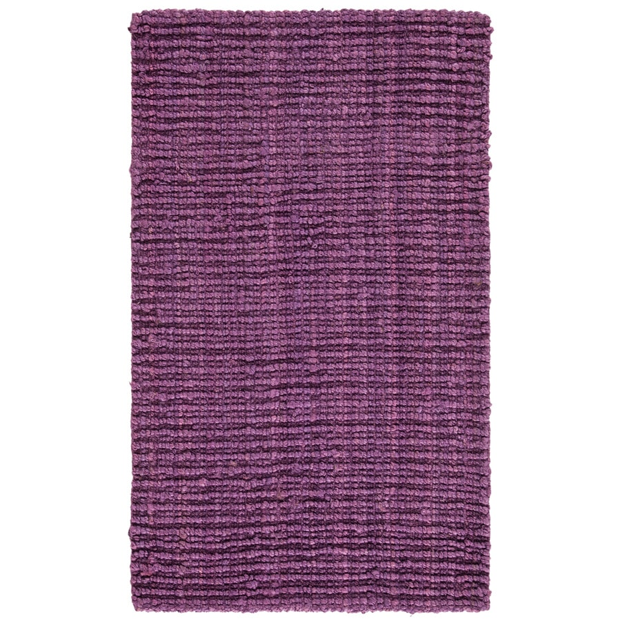 Safavieh Natural Fiber Bellport Purple Indoor Handcrafted Coastal Throw Rug (Common: 3 x 5; Actual: 3-ft W x 5-ft L)