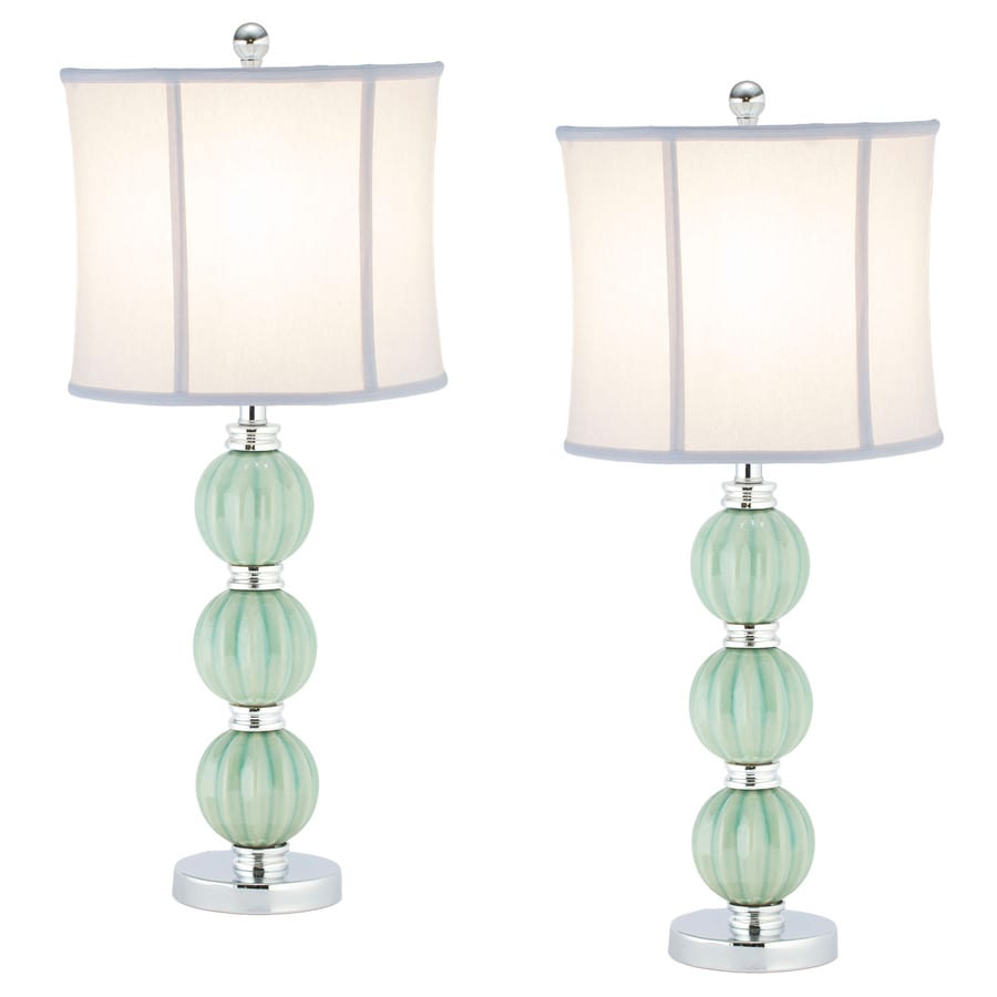 Safavieh 2-Piece Celadon Lamp Set with Fabric Shades