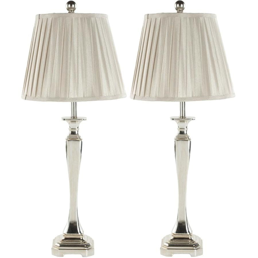 Safavieh Athena 27-in Champagne Rotary Socket Table Lamp with Fabric Shade (Set of 2)