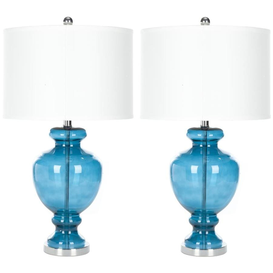 Safavieh Morocco 27-in H Blue Glass Table Lamp (Set of 2)