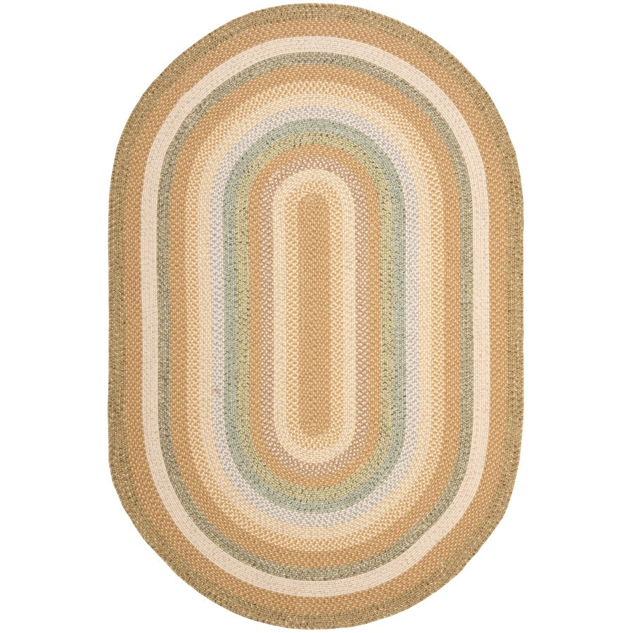 Safavieh Braided Tan/Multi Oval Indoor Handcrafted Coastal Area Rug (Common: 8 x 10; Actual: 8-ft W x 10-ft L)