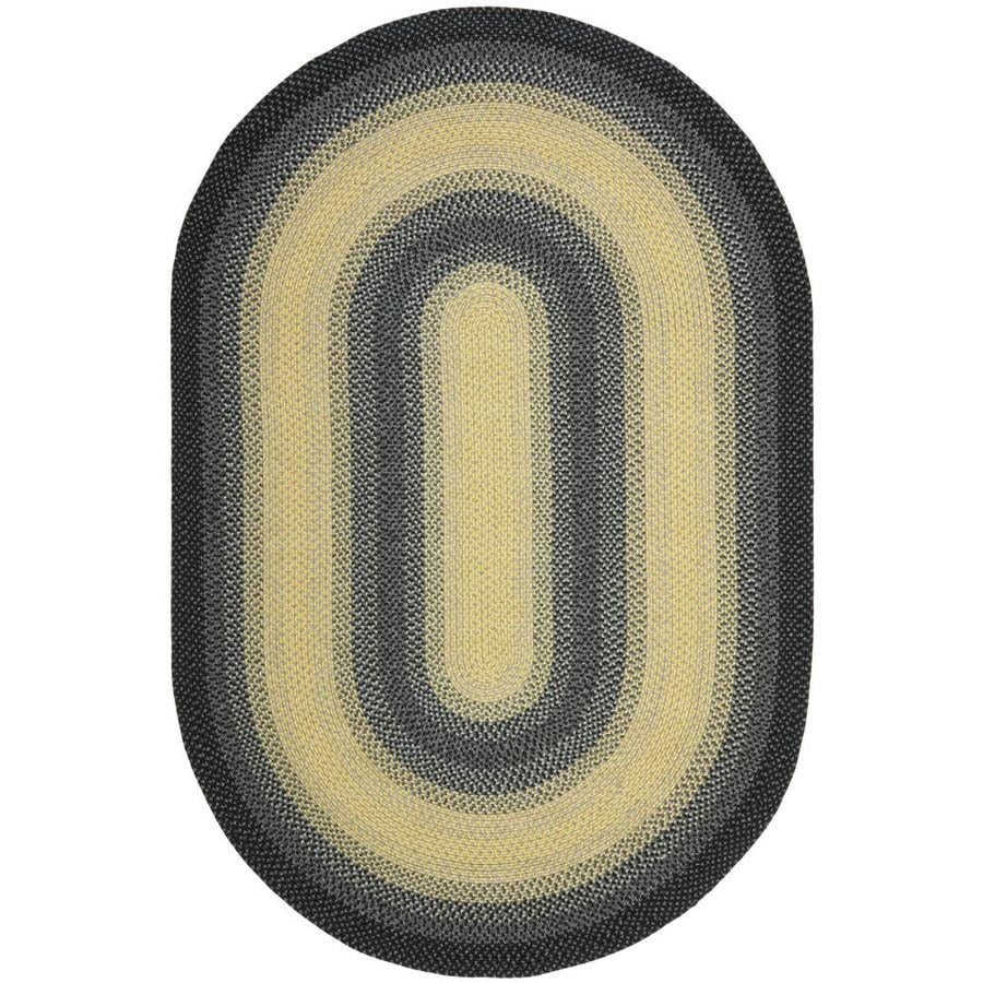 Safavieh Braided Black/Gray Oval Indoor Handcrafted Coastal Area Rug (Common: 4 x 6; Actual: 4-ft W x 6-ft L)