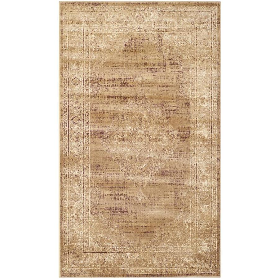 Safavieh Vintage Taupe Rectangular Indoor Machine-Made Distressed Area Rug (Common: 4 x 5; Actual: 4-ft W x 5.583-ft L x 0-ft Dia)