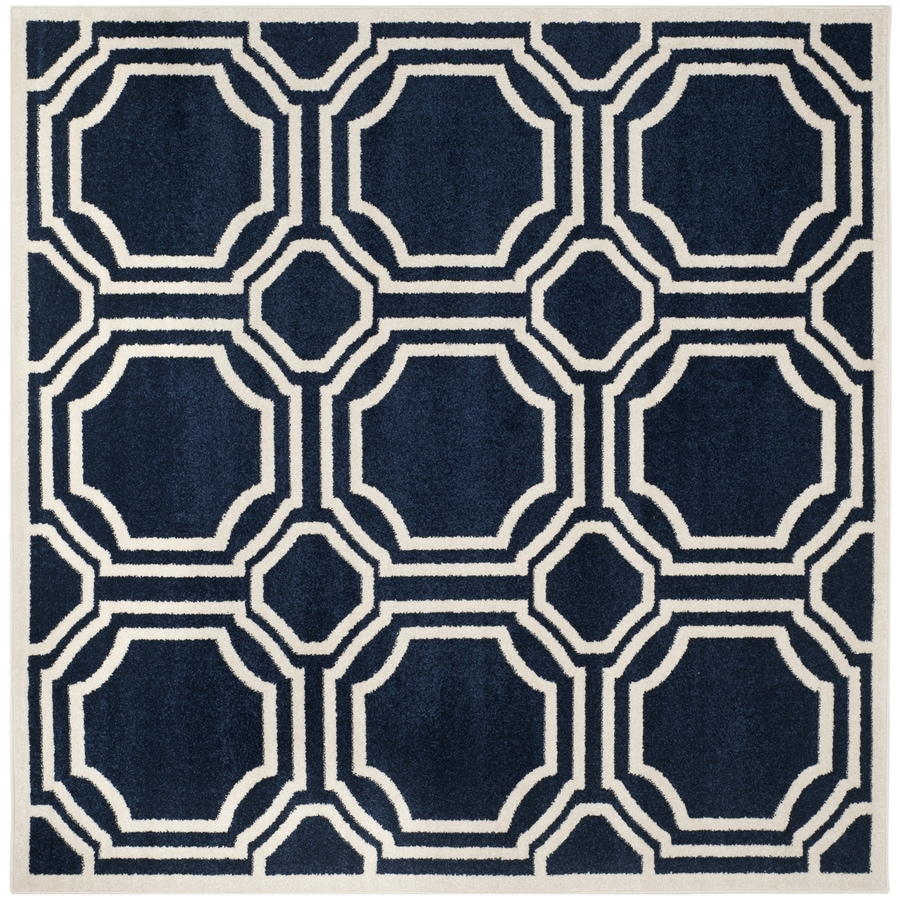 Safavieh Amherst Mosaic Navy/Ivory Square Indoor/Outdoor Moroccan Area Rug (Common: 5 x 5; Actual: 5-ft W x 5-ft L)