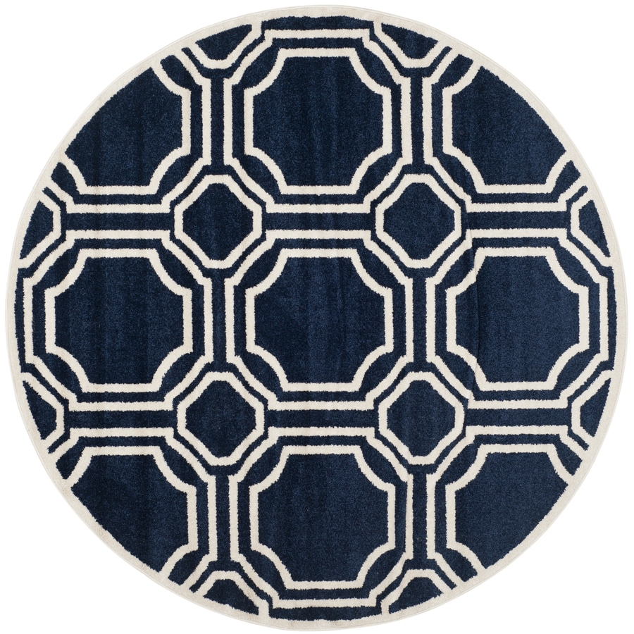 Safavieh Amherst Mosaic Navy/Ivory Round Indoor/Outdoor Moroccan Area Rug (Common: 5 x 5; Actual: 5-ft W x 5-ft L x 5-ft dia)