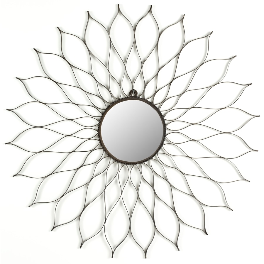 Safavieh Flower Brown Polished Round Wall Mirror