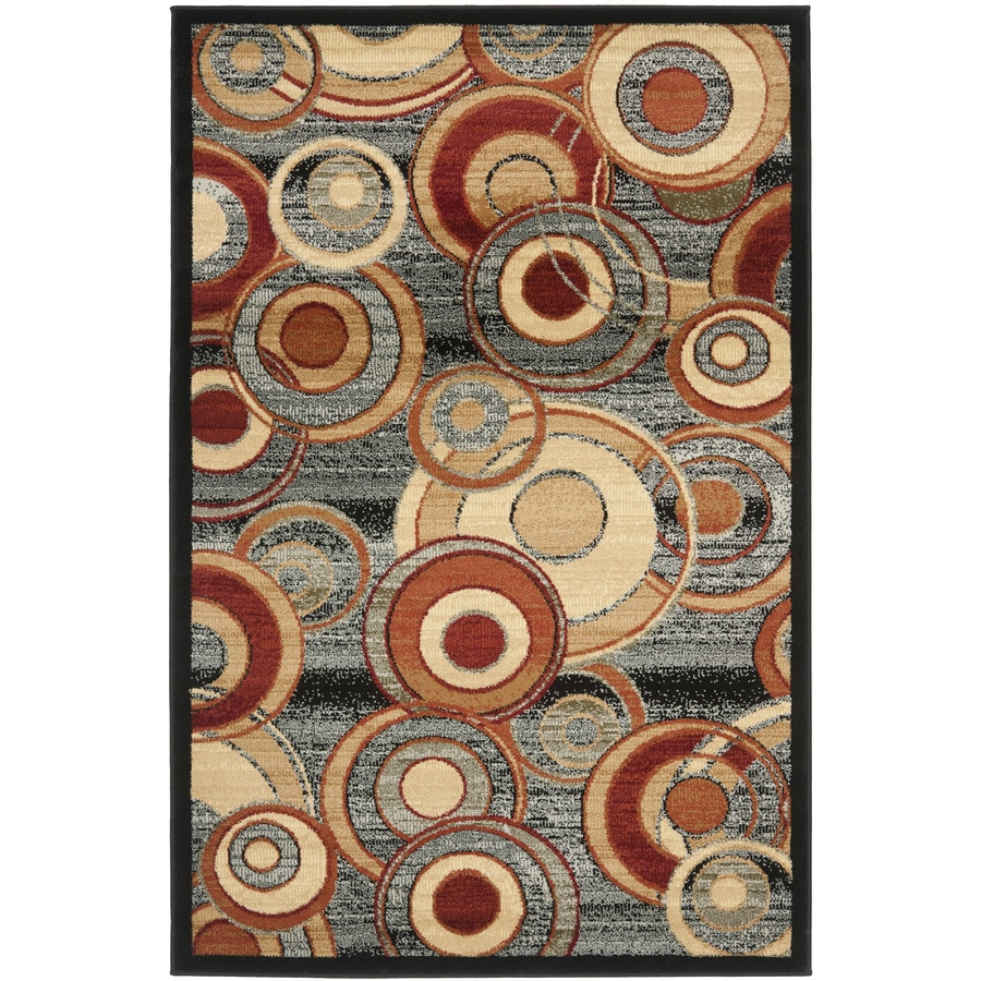 Safavieh Lyndhurst Modern Circles Gray Indoor Area Rug (Common: 5 x 8; Actual: 5.25-ft W x 7.5-ft L)