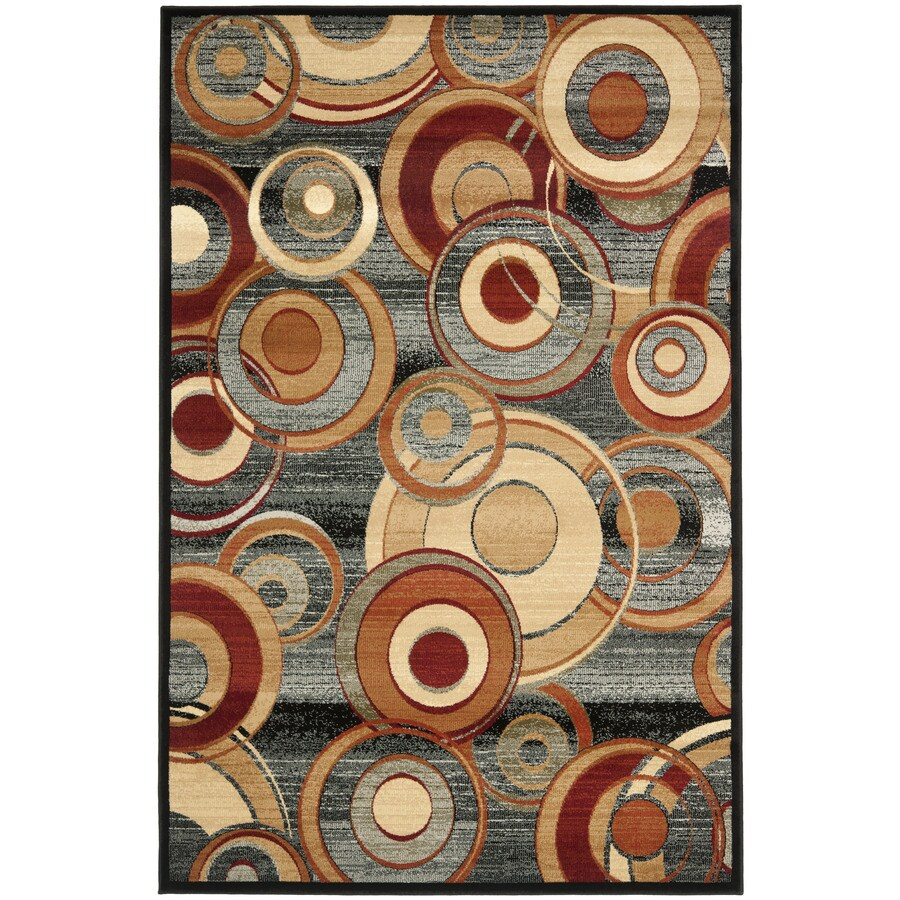 Safavieh Lyndhurst Modern Circles Gray/Multi Rectangular Indoor Machine-made Area Rug (Common: 6 x 9; Actual: 6-ft W x 9-ft L)