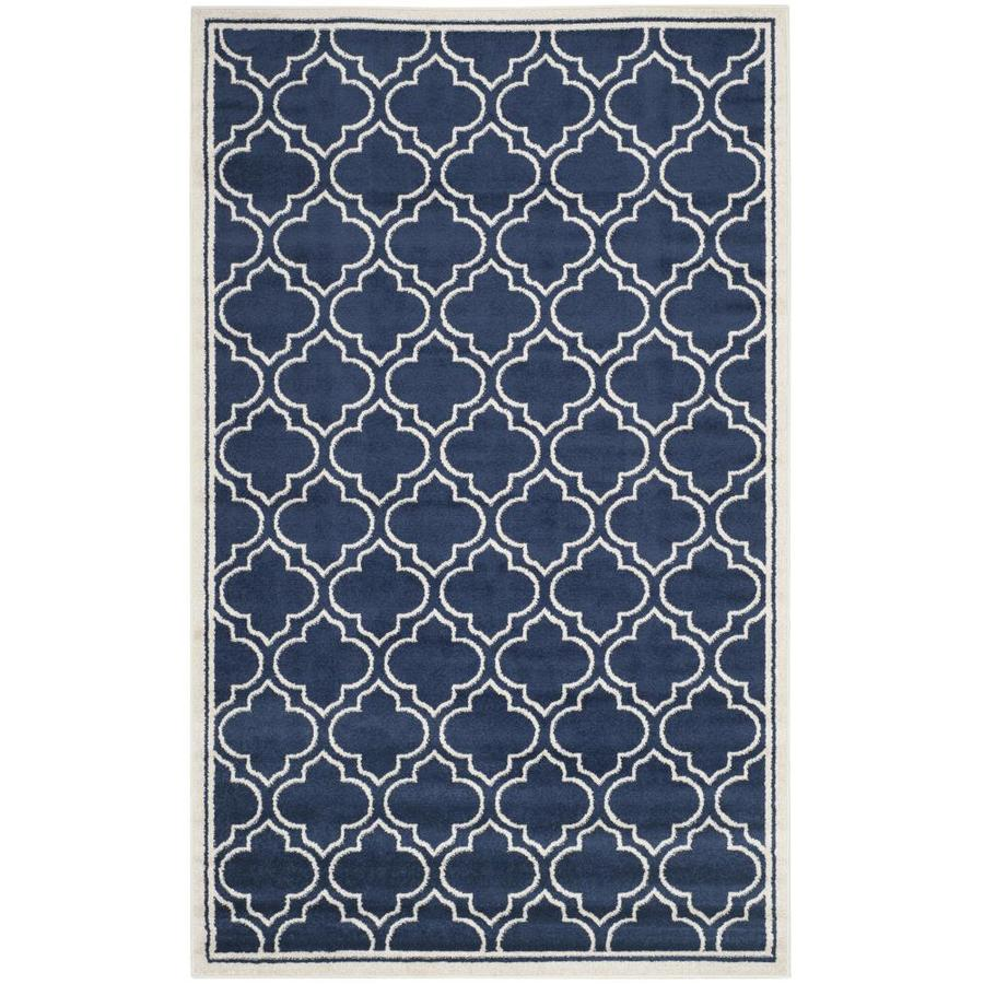 Safavieh Moroccan Navy/Ivory Indoor/Outdoor Area Rug (Common: 5 x 8; Actual: 5-ft W x 8-ft L)