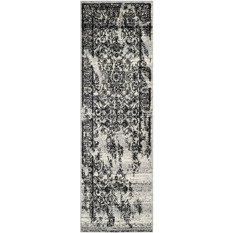 Safavieh Adirondack Plaza Silver/Black Indoor Lodge Runner (Common: 2 x 10; Actual: 2.5-ft W x 10-ft L)