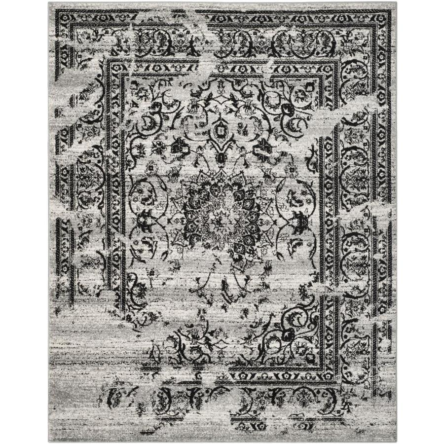 Safavieh Adirondack Plaza Silver/Black Rectangular Indoor Machine-Made Lodge Area Rug (Common: 6 x 9; Actual: 6-ft W x 9-ft L)