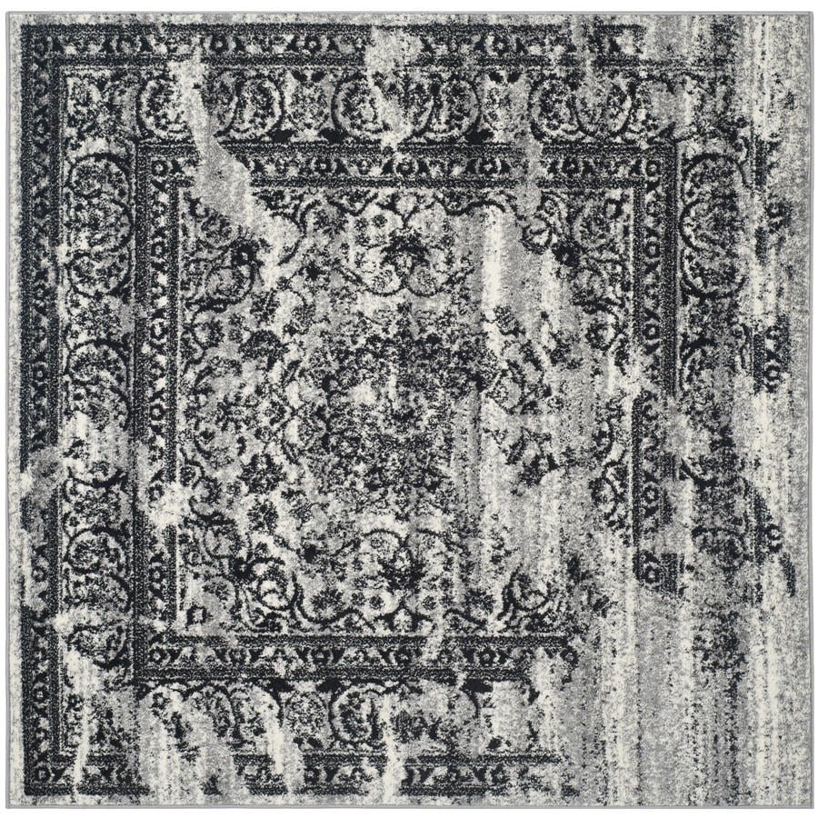 Safavieh Adirondack Silver/Black Square Indoor Machine-Made Lodge Area Rug (Common: 6 x 6; Actual: 6-ft W x 6-ft L)