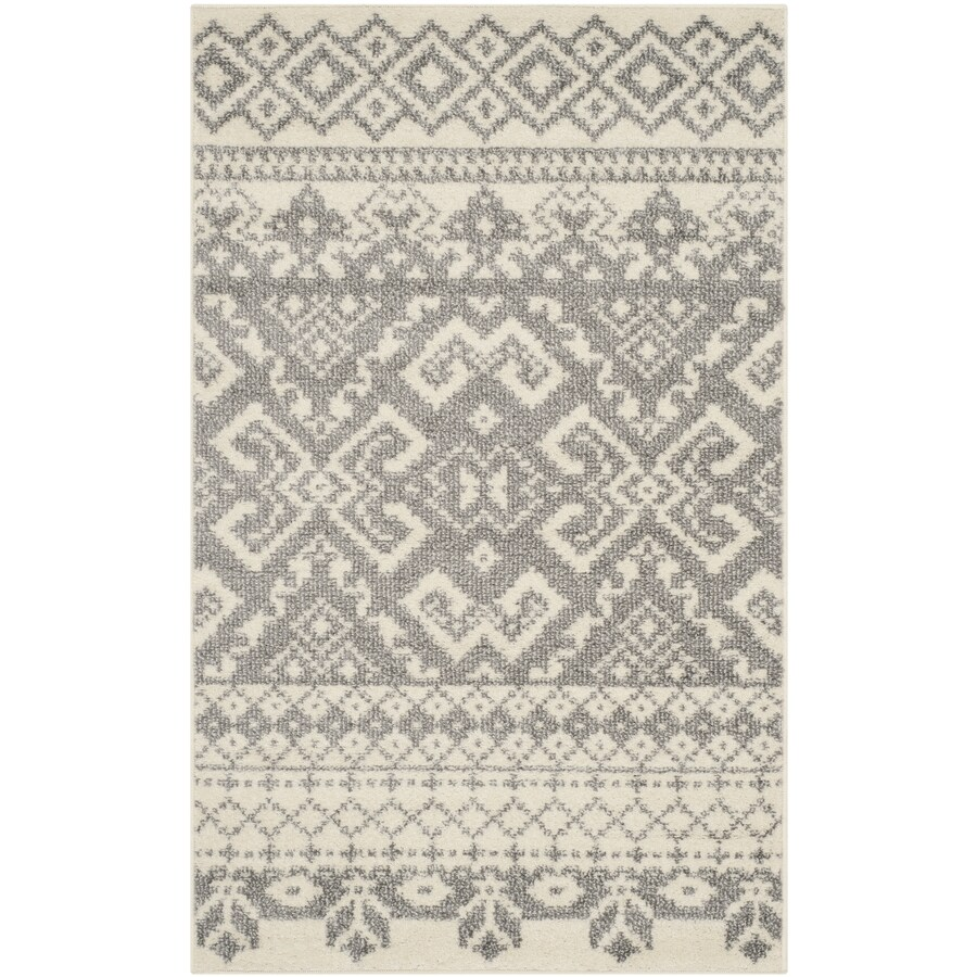 Safavieh Adirondack Taos Ivory/Silver Rectangular Indoor Machine-made Lodge Throw Rug (Common: 3 x 5; Actual: 3-ft W x 5-ft L)