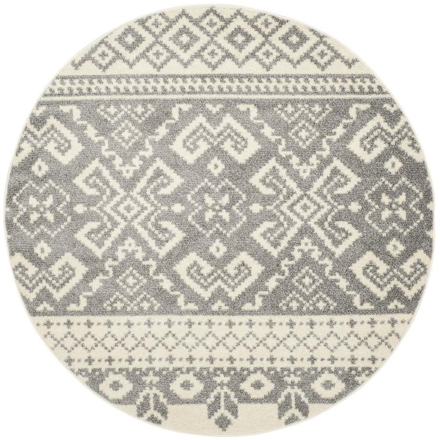 Safavieh Adirondack Taos Ivory/Silver Round Indoor Machine-made Lodge Area Rug (Common: 6 x 6; Actual: 6-ft W x 6-ft L x 6-ft Dia)