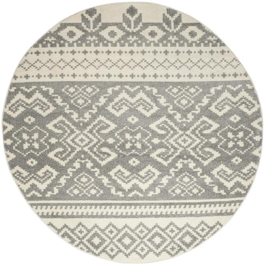 Safavieh Adirondack Taos Ivory/Silver Round Indoor Machine-Made Lodge Area Rug (Common: 8 x 8; Actual: 8-ft W x 8-ft L x 8-ft Dia)