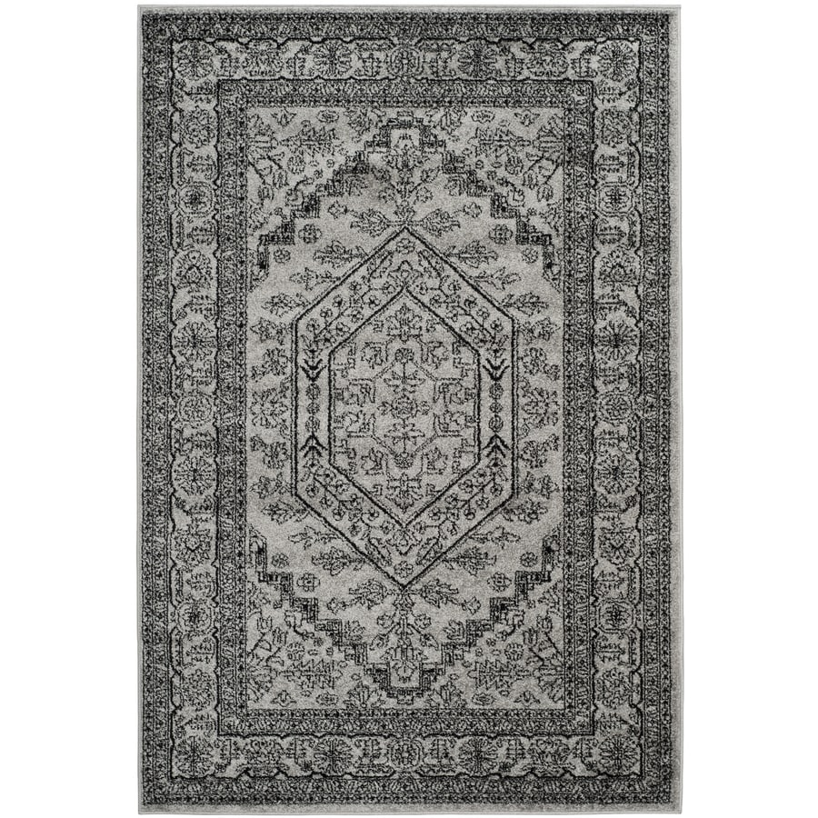 Safavieh Adirondack Herati Silver/Black Rectangular Indoor Machine-Made Lodge Area Rug (Common: 6 x 9; Actual: 6-ft W x 9-ft L)