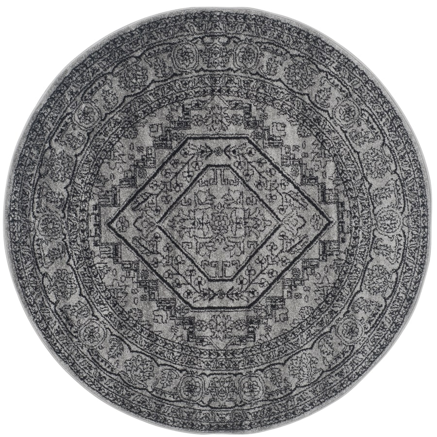 Safavieh Adirondack Silver/Black Round Indoor Machine-Made Lodge Area Rug (Common: 6 x 6; Actual: 6-ft W x 6-ft L x 6-ft Dia)