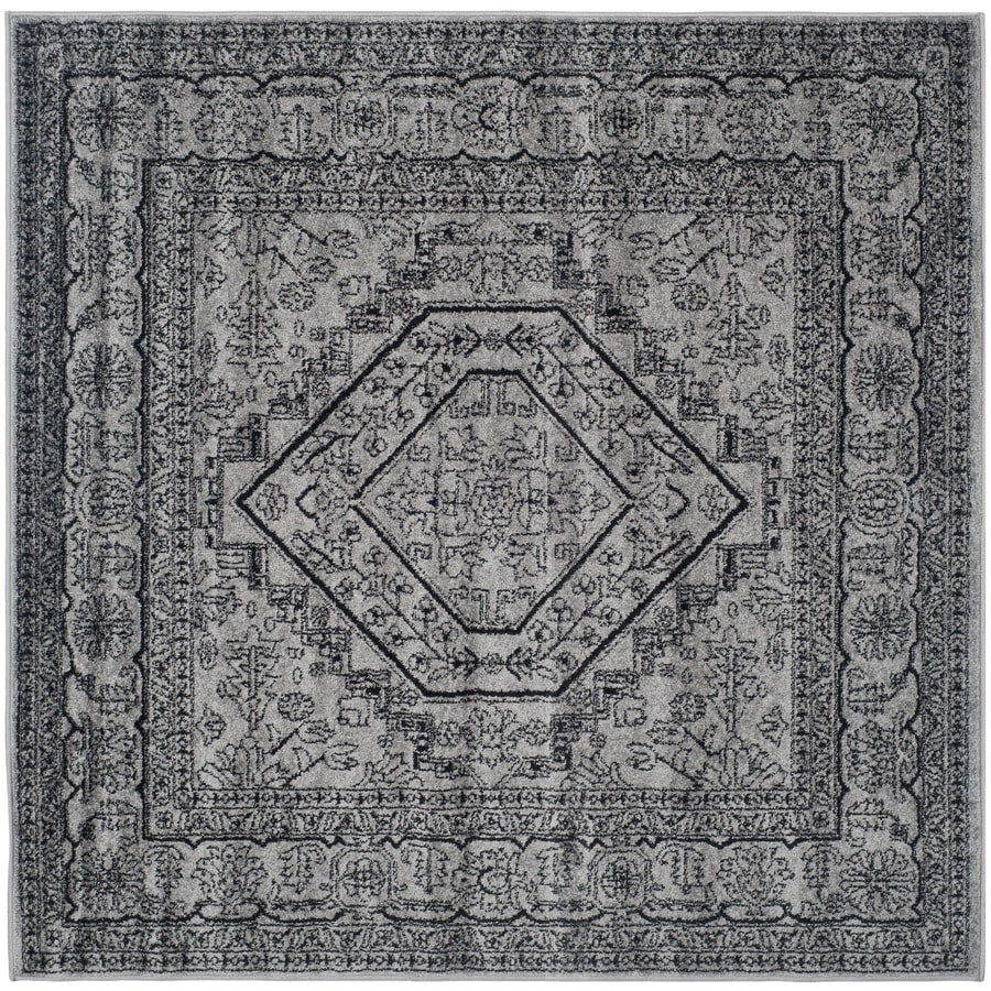 Safavieh Adirondack Herati Silver/Black Square Indoor Machine-made Lodge Area Rug (Common: 6 x 6; Actual: 6-ft W x 6-ft L)