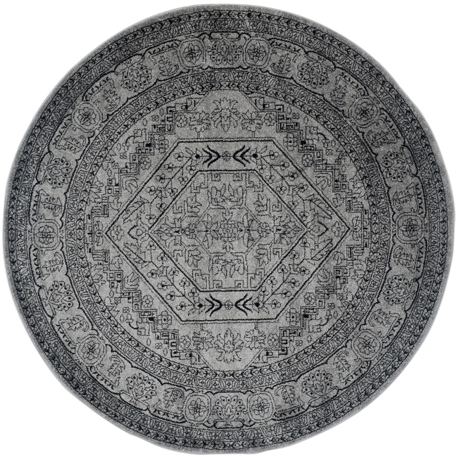 Safavieh Adirondack Herati Silver/Black Round Indoor Machine-made Lodge Area Rug (Common: 8 x 8; Actual: 8-ft W x 8-ft L x 8-ft Dia)