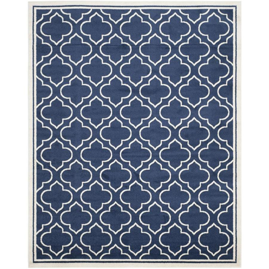 shop safavieh moroccan navy ivory indoor outdoor area rug common 9 x 12 actual 9 ft w x 12. Black Bedroom Furniture Sets. Home Design Ideas